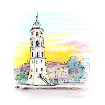 Markeringsschets van gediminas bell tower in vilnius, litouwen