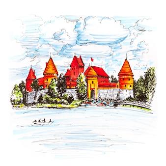 Markeringsschets van trakai island castle in de buurt van vilnius, litouwen