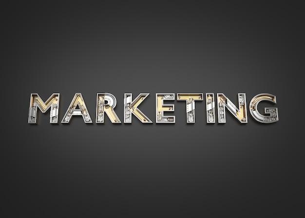 Marketing word gemaakt van mechanische alfabet. 3d illustratie