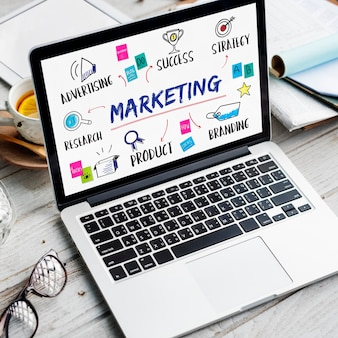 Marketingideeën delen onderzoeksplanningsconcept