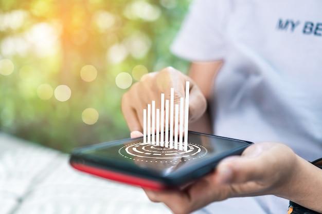 Markt voorraad grafiek pictogram scherm van smartphone achtergrond. financiële zakelijke technologie vrijheid droomleven met behulp van internet vrijheid leven concept.