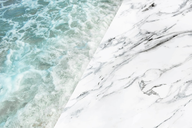 Marmer en zee product achtergrond