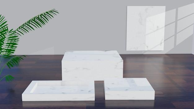 Marmeren display of podium voor showproduct en lege ruimte, houten vloer en grijze muur.