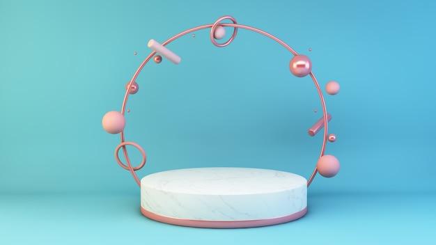 Marmeren platform met roze elementen