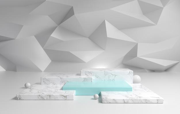 Marmeren podium en blauwe pastel met abstracte veelhoek achtergrond