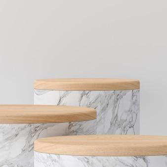 Marmeren podium en tophout op grijze achtergrond voor weergave van montageproducten