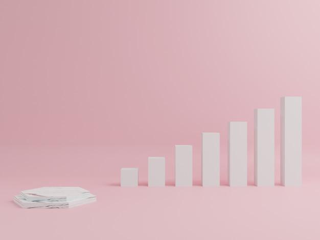 Marmeren podium in geometrische vorm, met roze achtergrond.