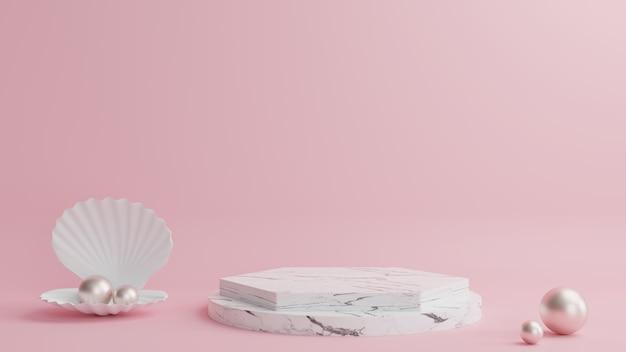 Marmeren podium in geometrische vorm, met schelpen en parels ernaast, met een mooie roze achtergrond