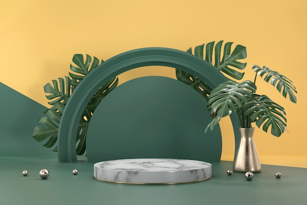 Marmeren podium voor de showcase van de productvertoning met de decoratie van monsterabladeren het 3d teruggeven als achtergrond