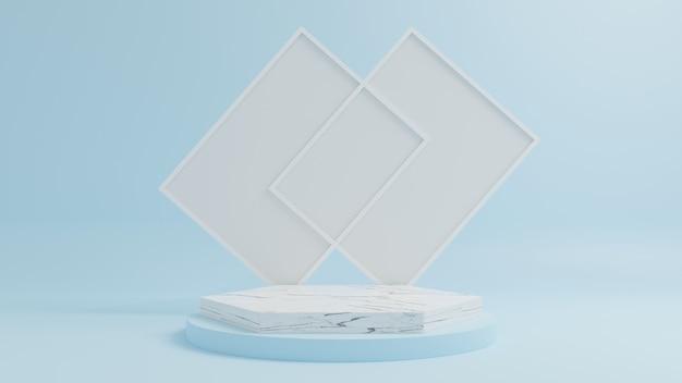 Marmeren podium voor het plaatsen van producten met een fotolijst en een blauwe achtergrond.