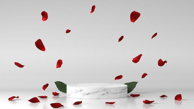Marmeren podium voor productplaatsing versierd met bloemblaadjes