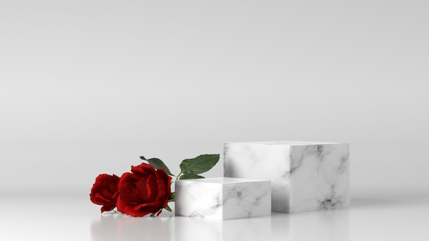 Marmeren podium voor productplaatsing versierd met roos