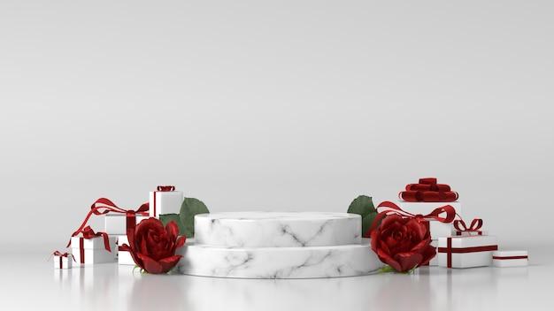 Marmeren podium voor productplaatsing versierd met rozen en geschenkdozen
