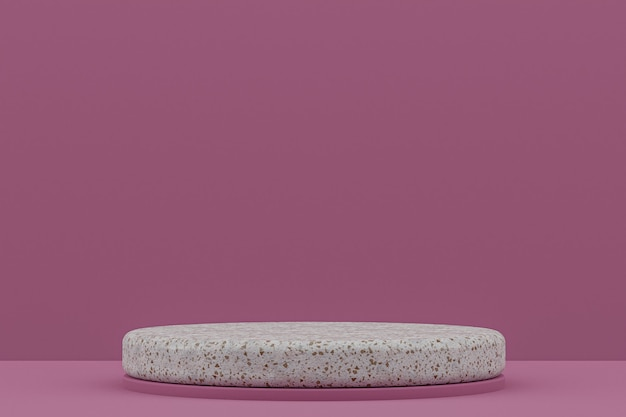 Marmeren podiumplank of lege productstandaard minimale stijl op paars voor cosmetische productpresentatie.