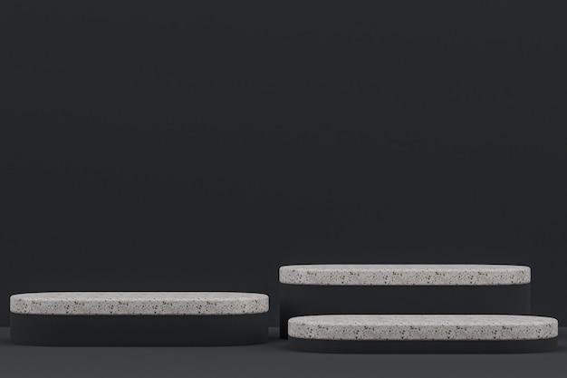 Marmeren podiumplank of lege productstandaard minimale stijl op zwart voor cosmetische productpresentatie.