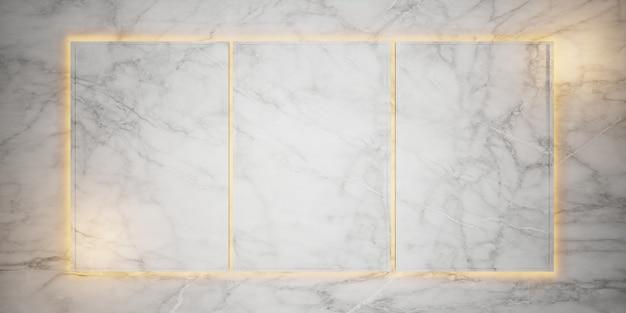 Marmeren studio frame voor het weergeven van producten en inhoudsontwerp luxe 3d-weergave