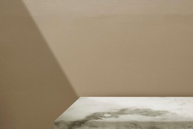 Marmeren tafelproductachtergrond, beige muurontwerp