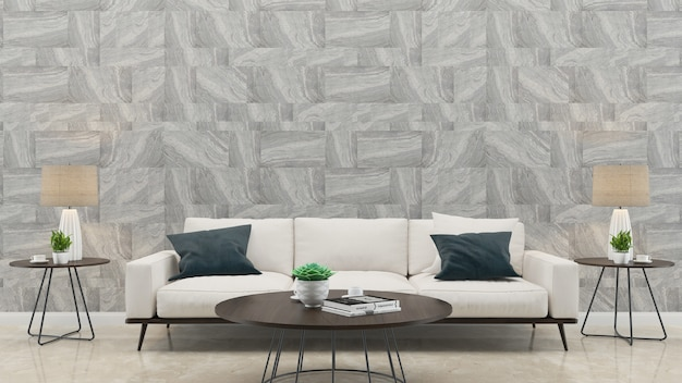 Marmeren tegel muur witte sofa woonkamer huis achtergrond sjabloon