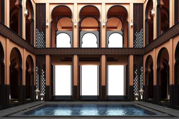 Marokkaanse mainhall dubbele ruimte met vijver in het midden van huis het 3d teruggeven