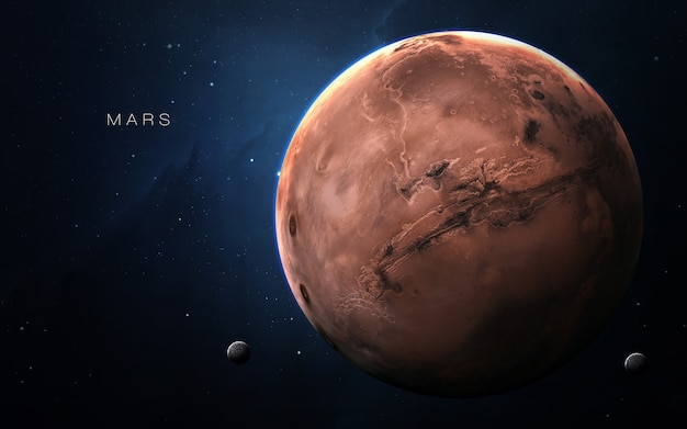 Mars in de ruimte, 3d illustratie. .