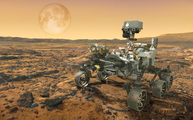 Mars-rover verkent. 3d-afbeelding