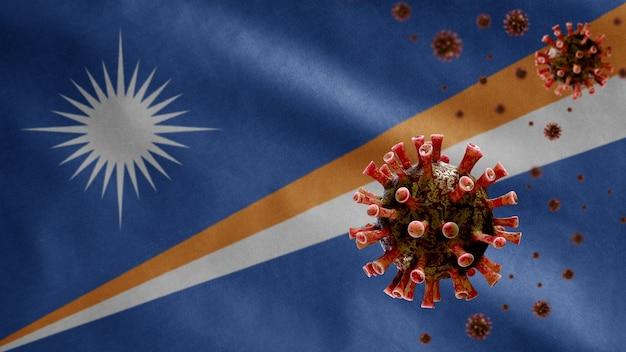 Marshallese vlag zwaait met uitbraak van coronavirus die het ademhalingssysteem infecteert als gevaarlijke griep
