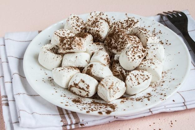 Marshmallows bestrooid met cacao op witte plaat