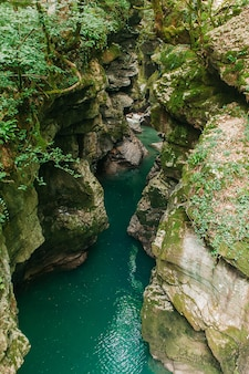 Martvili canyon in georgië. prachtige natuurlijke canyon met bergrivier.