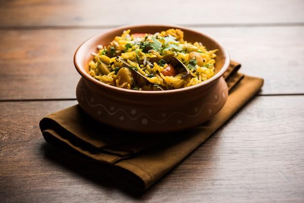 Masala rice of masale bhat - is een pittige groente gebakken rijst of biryani of pulav, meestal gemaakt tijdens bruiloften in maharashtra, india
