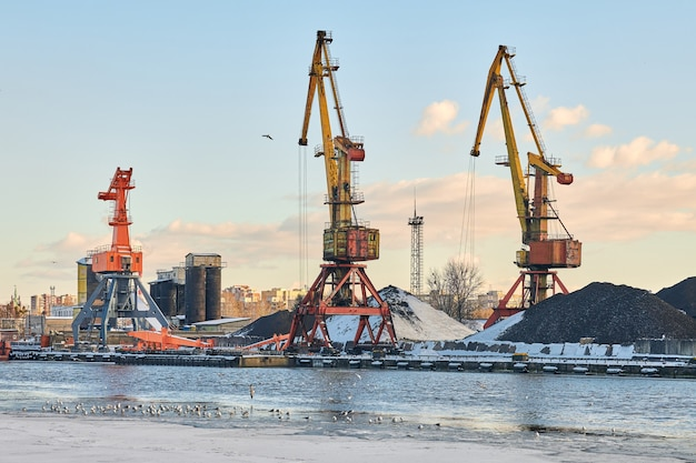 Massieve havenkranen in zeehaven. zware laadkadekranen in haven, containerwerf, containerschipterminal. zaken en handel, logistiek. winter industriële scène.