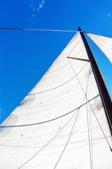 Mast van een zeilboot met bermuda-zeiluitrusting tegen een blauwe lucht, onderaanzicht