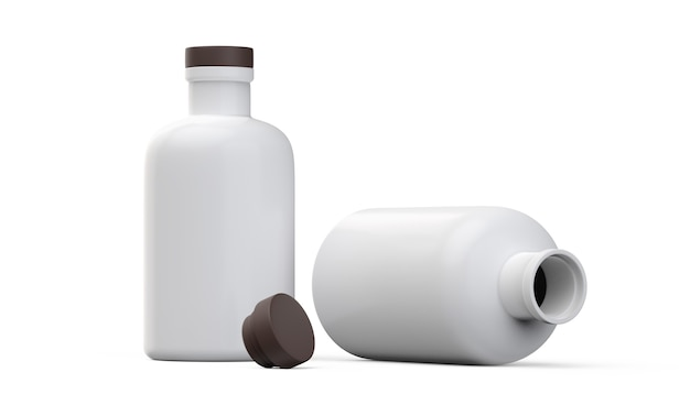 Mat witte fles ingesteld op witte achtergrond 3d