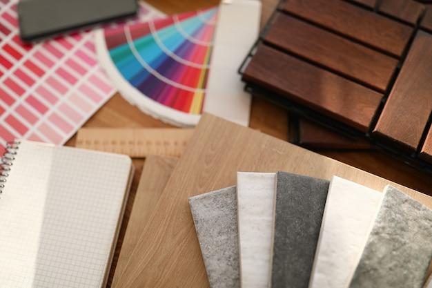 Materialen voor platte decoratie op tafel