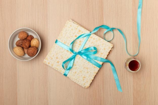 Matzo, matzoth voor joods passover, houten