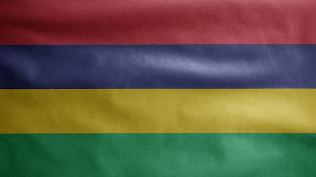 Mauritiaanse vlag zwaaien op de wind. close-up van mauritius banner waait, zachte en gladde zijde. doek stof textuur vlag achtergrond
