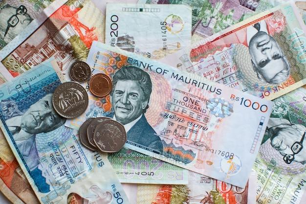 Mauritius geld mauritius rupee (mur) bankbiljetten en munten close-up