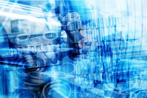Mechanisch met blauwe vormen