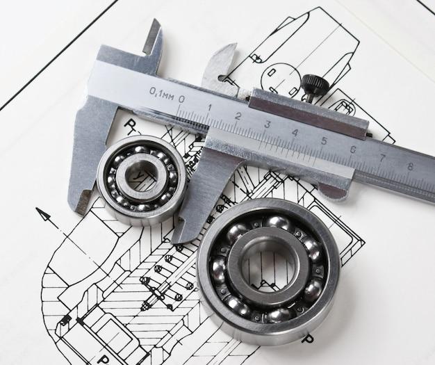 Mechanisch schema en remklauwen met lager