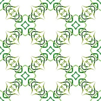 Medaillon naadloze patroon. groen uitstekend boho chic zomerontwerp. aquarel medaillon naadloze grens.