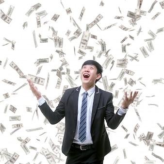Medewerker van het bedrijf erg blij dat veel bonussen voor hem vallen.