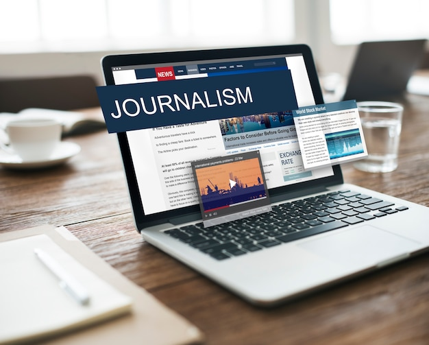 Mediajournalistiek wereldwijd dagelijks nieuws inhoudsconcept