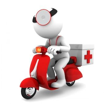 Medic op scooter. medische noodhulp concept