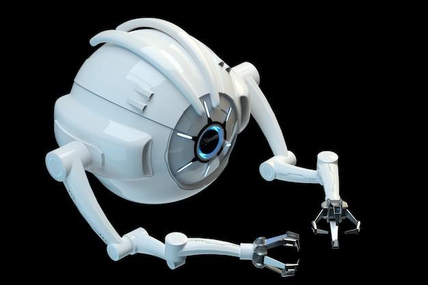 Medisch concept op het gebied van nanotechnologie, nanorobot geïsoleerd op een donkere muur. genetische manipulatie en het gebruik van nanorobots. 3d render, 3d illustratie.