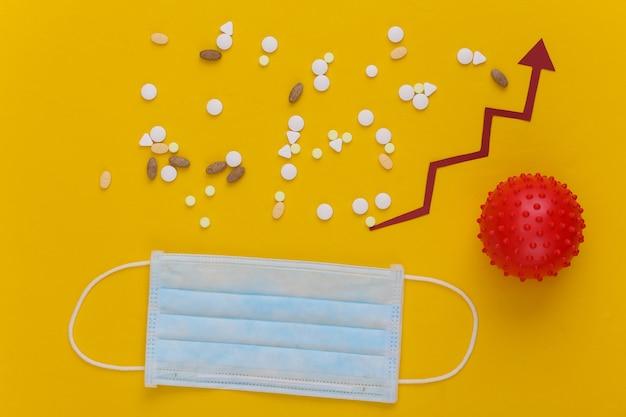 Medisch gezichtsmasker en model van virusstam, pillen met groeipijl die naar boven neigt op geel.