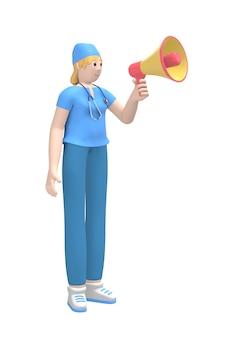Medisch karakter een jonge blanke vrouwelijke arts zegt, schreeuwt in een megafoon onder de aandacht, gevaar.