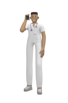 Medisch karakter jonge afrikaanse man arts in een pak praten aan de telefoon, accepteert een oproep.