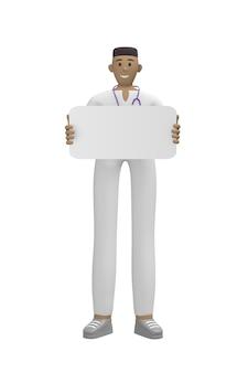Medisch karakter jonge afrikaanse man arts met een leeg bord voor kopie ruimte. cartoon persoon geïsoleerd
