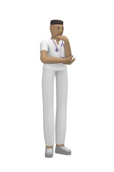Medisch karakter jonge afrikaanse man arts propping hoofd denken vraag, oplossing, probleem. cartoon persoon