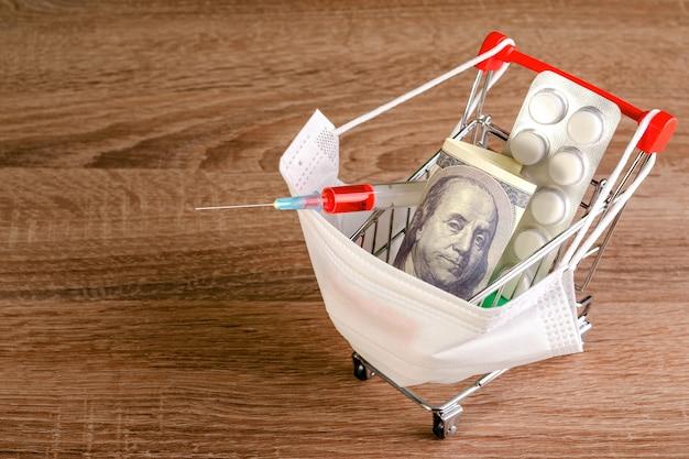 Medisch masker, spuit, tabletten, honderd dollar ligt in speelgoed winkelwagentje. kopieer ruimte voor tekst.