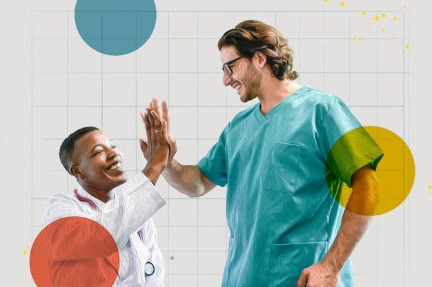 Medisch personeel doet een high five tijdens de coronaviruspandemie